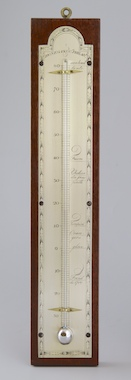 Amerikaanse thermometer, handgegraveerde verzilverde messing plaat met Reaumur-kwik-thermometer.